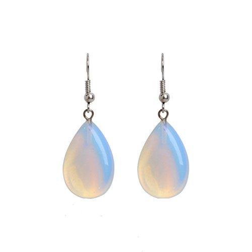 Iumer Silver Overlay Blue Fire Water Drop Shape Opal Drop Dangle Earrings Cute Jewelry