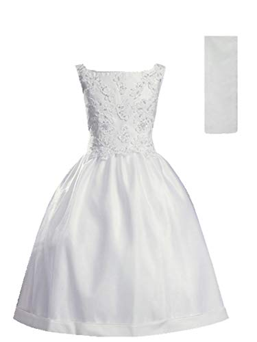 White Satin Communion Baptism Dress with Beaded Applique - Size 12 -