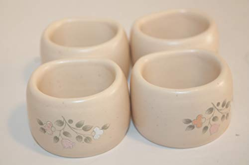 Pfaltzgraff Remembrance USA RARE Napkin Rings SET/4 Discontinued 2010 Pink, Peach & White Flowers