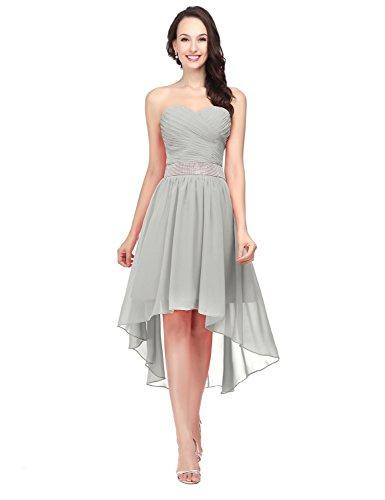 Ballkleid Clearbridal Chiffon Abendkleid Damen CSD400 Asymmetrisch Cocktailkleid Abschlusskleider Silber Bandeau qFFgtTr