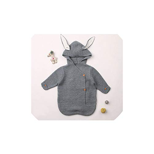 - 2019 Newborn Baby Blankets Knitted Baby Covers Rabbit Ear Swaddling Baby Wrap Photography Bunny Style Swaddle Wrap,Deep Grey