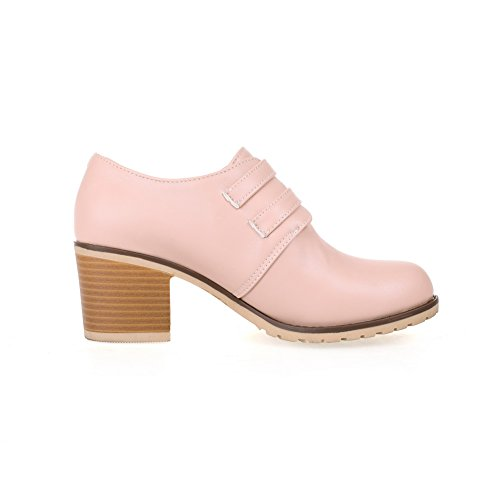 Balamasa Dames Boucle Talons Chunky Bout Rond Uréthane Chaussures-oxford Rose