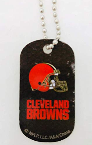 Mirror Mania Cleveland Browns NFL Football Dog Tag Chain Personalized Free Engraved Custom Name On Back - a Chain, Keychain, Luggage tag, or Clip on Backpack or Bag. ()