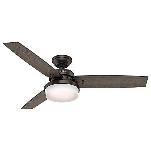 Hunter 52 Sentinel Premier Bronze Ceiling Fan with Light with Handheld Remote