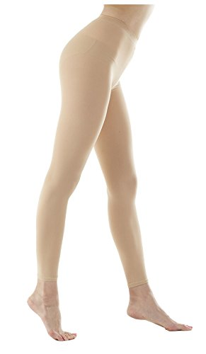 Women's 80Denier Semi Opaque Solid Color Footless Pantyhose Tights 2pair(S/M, Skin Beige) ()