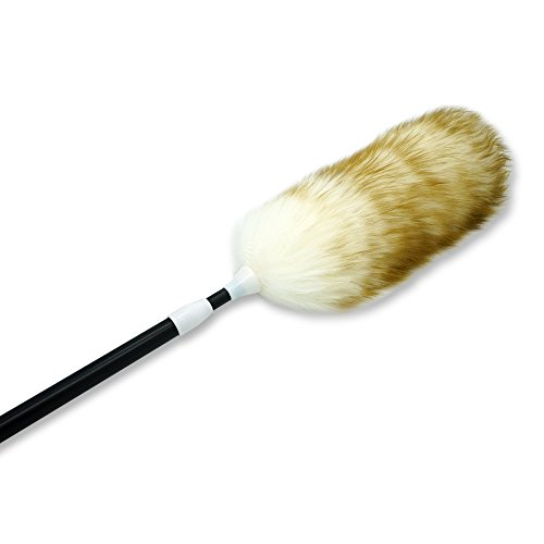 Wool Natural Long (Yachee Pure Lambs Wool Feather Duster with Extension Pole, Multipurpose Long-Reach Retractable Dusting Brush Extend 32-45 inches Telescopic Duster with Handle for High Ceilings)