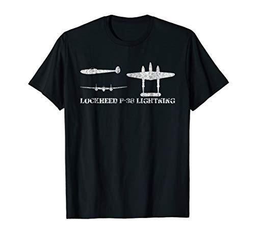 Lockheed P38 Lightning WWII Fighter Plane Tshirt Gift ()