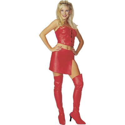 Red Costume Devil Leather (Rubies Hot City Nights Luscious Leather Skirt and)
