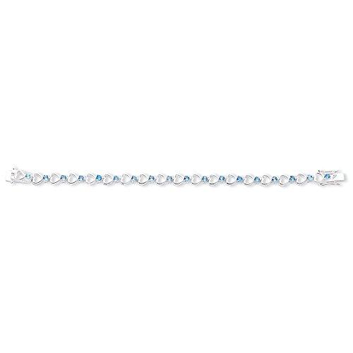 Bracelet en argent Sterling avec topaze Bleu - 7,5 cm-Fermoir-JewelryWeb