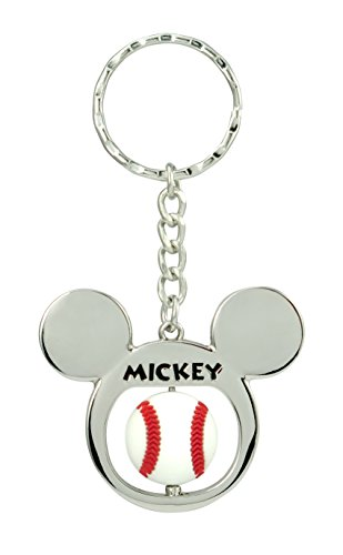 Disney Mickey Mouse Baseball Spinner Pewter Key Ring Key Accessory