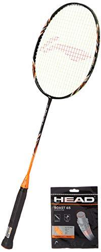 Li Ning G tek 99 Power Badminton Racket with Head Badminton String Boast 65 Orange