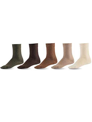 Mat & Vic's Men's Dress Socks, European, Cotton, Classic Crew, also Women's Sizes, 5-pack Earth Colors XL