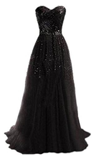 YOGLY Vestidos Mujer Encantador Vestido de Fiesta Largo Lentejuelas Vestidos de Fiesta de Noche Negro