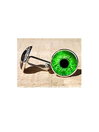 (beautiful beautiful girl Green Eye Cufflinks, Custom Cuff Link,Exquisite Ornaments, Dome Glass Jewelry, Hand-Made. )