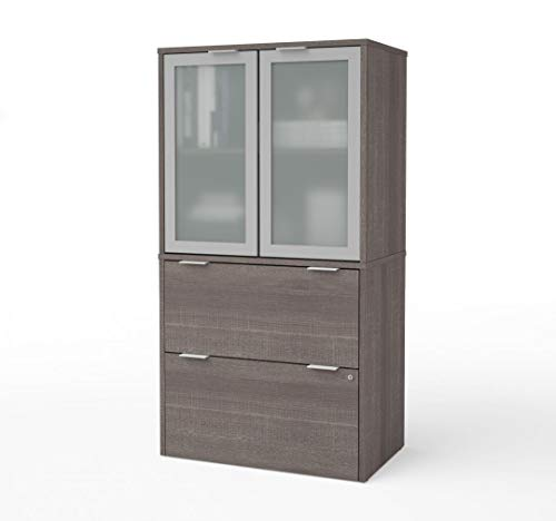 Bestar Lateral File Cabinet with Frosted Glass Doors Hutch - i3 Plus