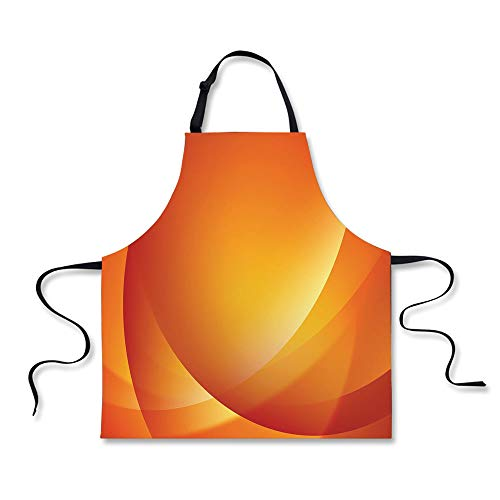iPrint Cooking Apron,Orange,Colorful Smooth Twist Lines Sun
