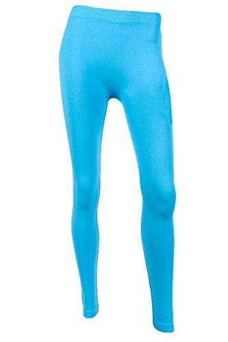 Sofra Women's Full Length Color Leggings-Aqua Blue ()