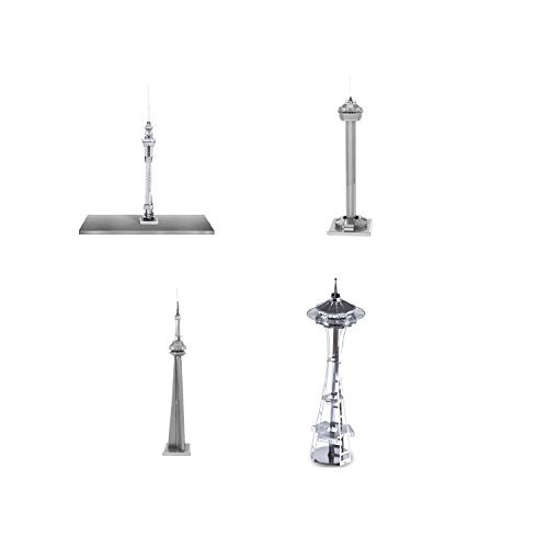 Price comparison product image Set of 4 Metal Earth 3D Laser Cut Building Models: Space Needle - Auckland Sky Tower - CN Tower - Tower of the Americas
