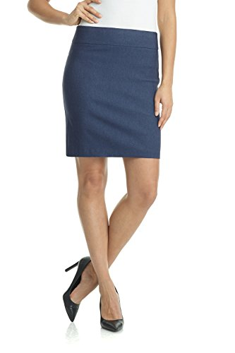 Rekucci Women's Ease Into Comfort Above The Knee Stretch Pencil Skirt 19 inch (Medium,Indigo) ()