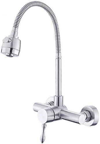 キッチン蛇口 台所用水栓 蛇口 ホットとコールドコントロールで壁キッチンのシンクの蛇口、バスルームのシンクの蛇口304ステンレス鋼、キッチンバスルームに適し