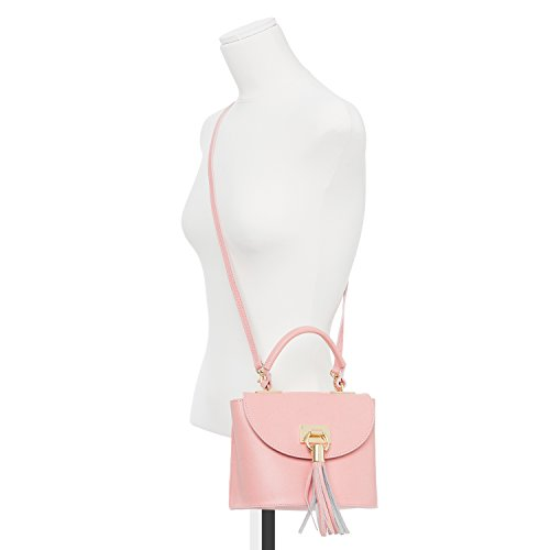 Santa Firenze - Bolso Bambino de Auténtica Piel Italiana en Color Rosa Empolvado