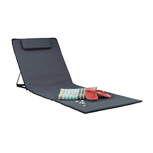 Relaxdays Matelas de plage XXL rembourré dossier pliable sac de transport oreiller, anthracite