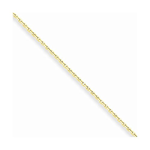 Gold Anklet Diamond Cut Cable - 10k Yellow Gold 1.3mm Solid Diamond Cut Cable Chain Anklet 9 Inch