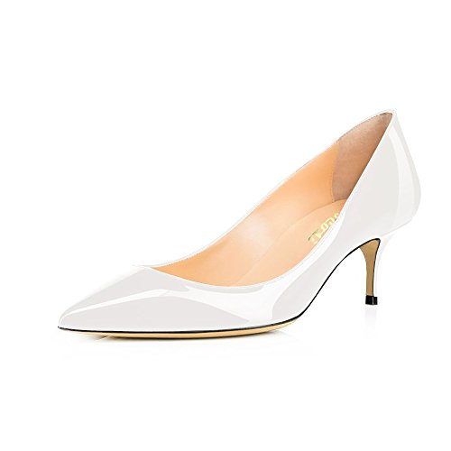 Toe White Party Leather Pumps Patent Heel Pointed Women's Dress Low Closed Vocosi Wedding mammade Kitten 4qtPZWS