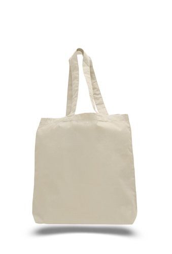 Cotton Budget Tote Bag - 100% Cotton Daily Shopper Tote Bags with Bottom Gusset - 6oz Fabric - 15