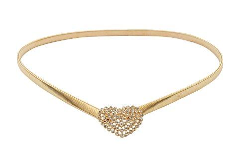 - E-Clover Elegant Heart Rhinestone Buckle Metal Skinny Stretch Waist Dress Belt (Style1)