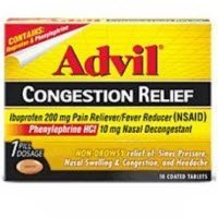 Contains: ibuprofen & phenylephrine. Ibuprofen 200 mg pain reliever/fever reducer (NSAID); Phenylephrine HCl 10 mg nasal decongestant.