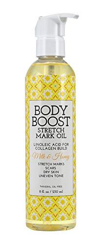 - Body Boost Milk & Honey Stretch Mark Oil 8oz, Pregnancy and Nursing Safe Skin Care