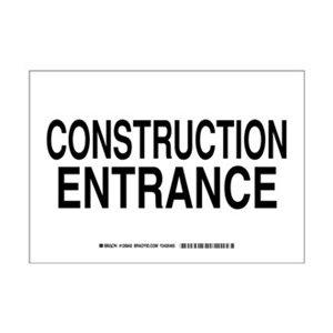 7 Height Black on White LegendConstruction Entrance 7 Height 10 Width LegendConstruction Entrance 10 Width Brady 126842 Construction Site Sign