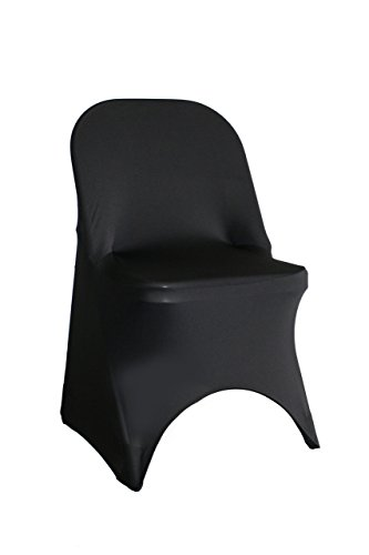 YCC Linen - 6 Pack Stretch Spandex Folding Chair Covers Black