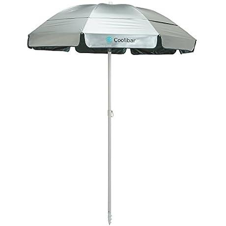 Coolibar UPF 50 6 Titanium Beach Umbrella With Corkscrew Pole Sun Protective One Size Silver