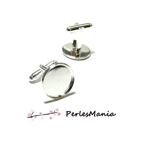 perlesmania.com BN118896AV Pax 10 Supports Boutons de Manchettes 16mm Argent Vif qualit/é Laiton