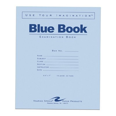 Roaring Spring Blue Exam Book, 8.5 x 7, 16 Sheets by Roaring Spring
