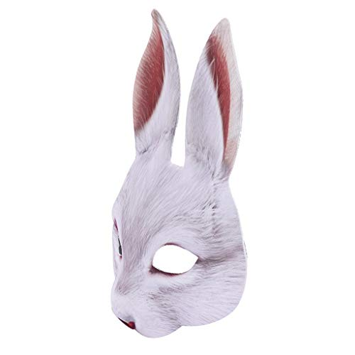 Jeash Halloween Party Mask Funny Costume Face Mask-Bunny Costume Animal Adult Costume Half Mask (White) (Bunny Can Can)