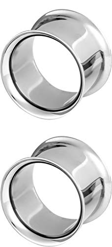 (Forbidden Body Jewelry 9/16 Inch (14mm) Surgical Steel Mirror Finish Double Flared Tunnel Plug Earrings)
