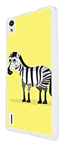 1162 - Cute Fun Zebra Animal Drawing Yellow Design For Huawei Ascend P6 Fashion Trend CASE Back COVER Plastic&Thin Metal - White