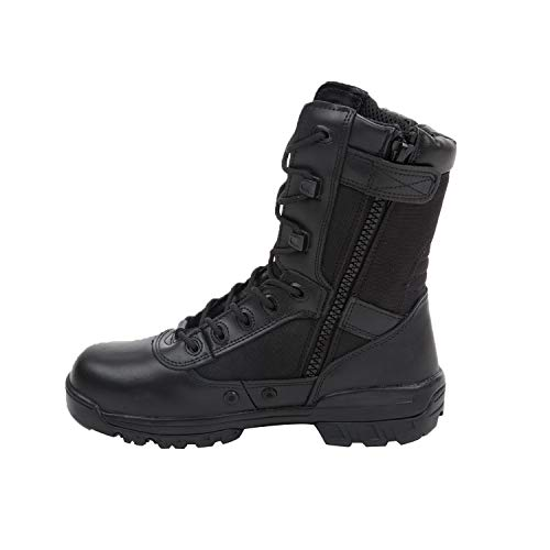 KaiFeng Men's 9-inch Military Tactical Combat Zipper Working Boots(13M US,Black) ()