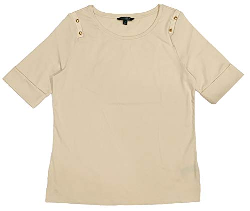 (LAUREN RALPH LAUREN Plus Size Button-Shoulder Cotton Top (3X, Parchment))