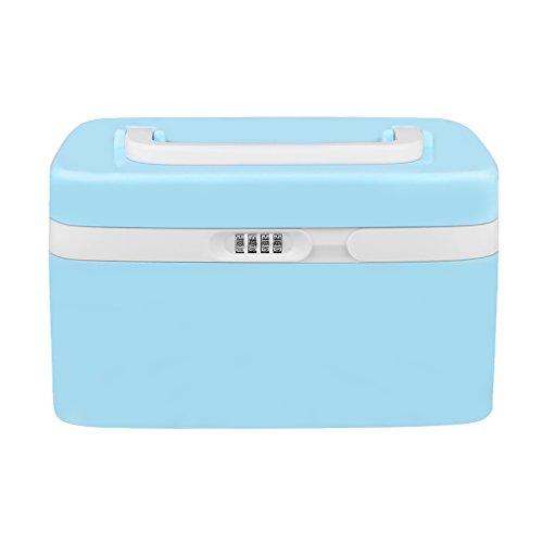eoere Combination Lock Medicine Cabinet With Separate Compartments ,Locking Prescription Pill Case Storage Box, Size 11 x 7.4 x 6.2 inches (Blue)