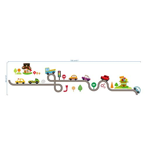 Iolanthe Equinox Wall Stickers - Cartoon Cars Highway Track Wall Stickers for Kids Rooms Sticker ldren's Play Room Bedroom Decor Wall Art Decals 1 -