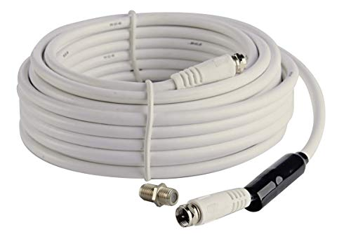 (McDuory Coaxial RG6 Cable with F-Male Connector (32FT) - White - Grip Caps -with F-F Coupler Splice)