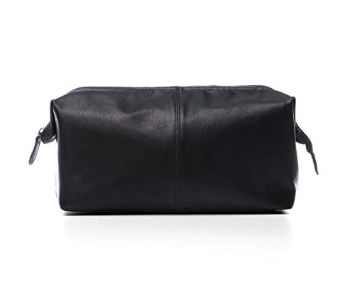 YoulikeLP Wash bag Leather Toiletry Bag for Men,PU Leather Wash Bag,Waterproof Travel Bathroom Bags Portable