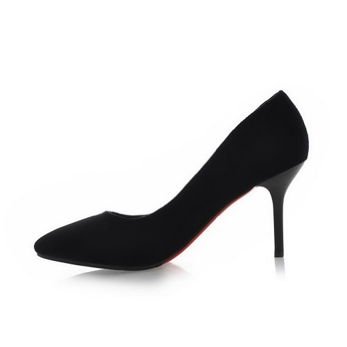 VogueZone009 Womans Closed Pointed Toe High Heel Suede Frosted Solid Pumps, Black, 3 UK