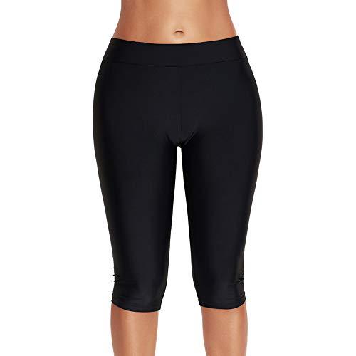 HOLYSNOW Women Solid Color Knee Length Boyshorts Boxers Sports Swimming Shorts Boyleg Swim Pants Board Short