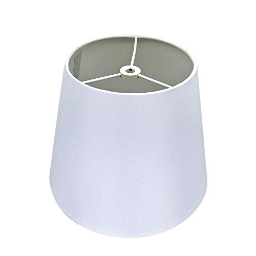 (White Lamp Shade,Alucset Barrel Fabric Small Lampshade for Table Lamp and Floor Light,6x10x7.5