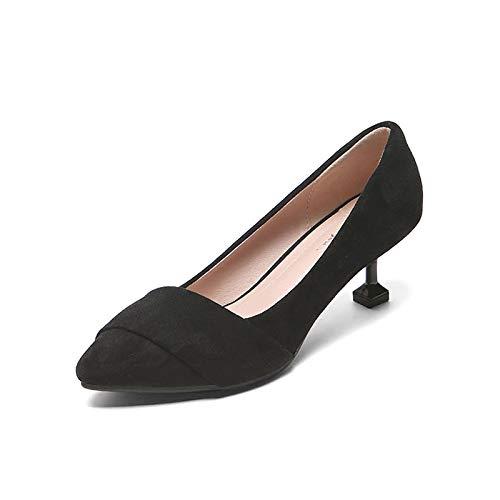 Yukun Profonde Travail Chat Simple 5cm À Bouche Une Hauts Avec De Soulier Un Peu Chaussures Professionnelles Black Noir Talons rYOIwpr